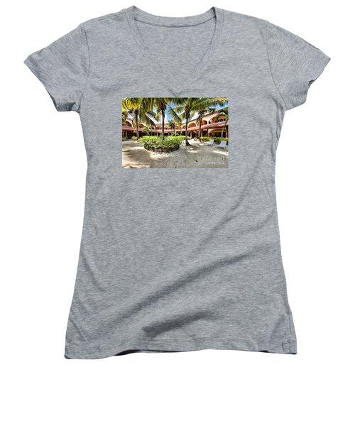 Sun Breeze Hotel Women's V-Neck T-Shirt (Junior Cut) by Lawrence Burry