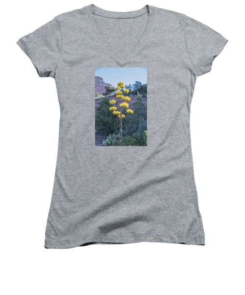Sun Brightened Century Plant Women's V-Neck (Athletic Fit)