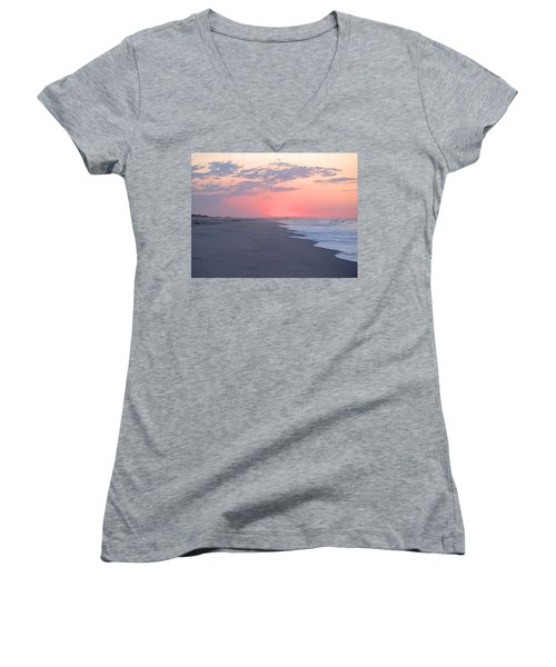 Women's V-Neck T-Shirt (Junior Cut) featuring the photograph Sun Brightened Clouds by  Newwwman
