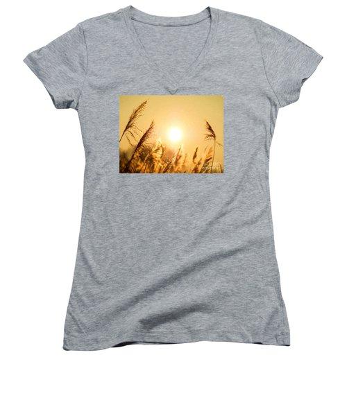 Sun Women's V-Neck T-Shirt (Junior Cut) by Daniel Heine