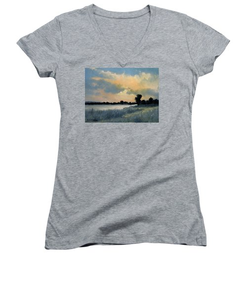 Sun Down Women's V-Neck T-Shirt