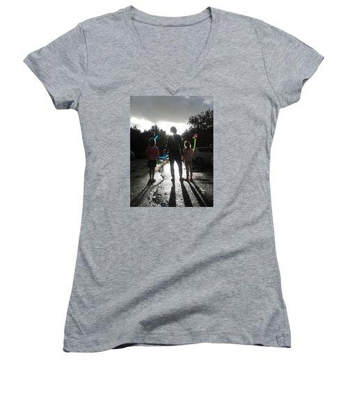 Women's V-Neck T-Shirt (Junior Cut) featuring the photograph Sun Drops by Giuseppe Epifani