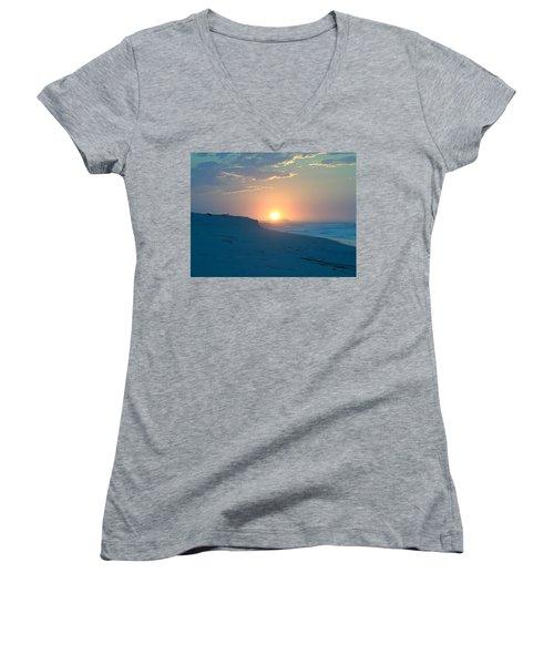 Women's V-Neck T-Shirt (Junior Cut) featuring the photograph Sun Dune by  Newwwman