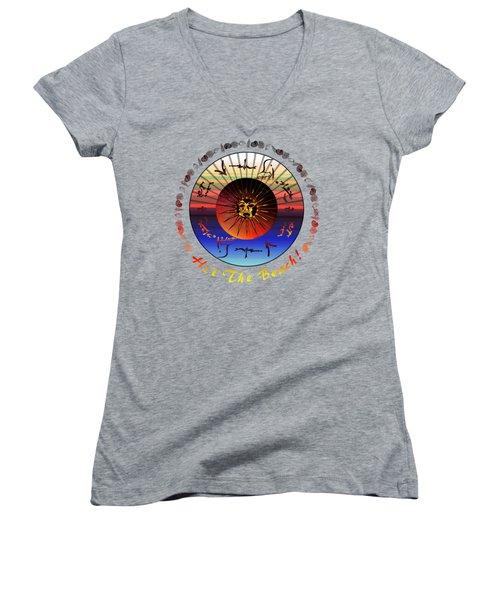 Sun Face Stylized Women's V-Neck T-Shirt (Junior Cut) by Robert  G Kernodle