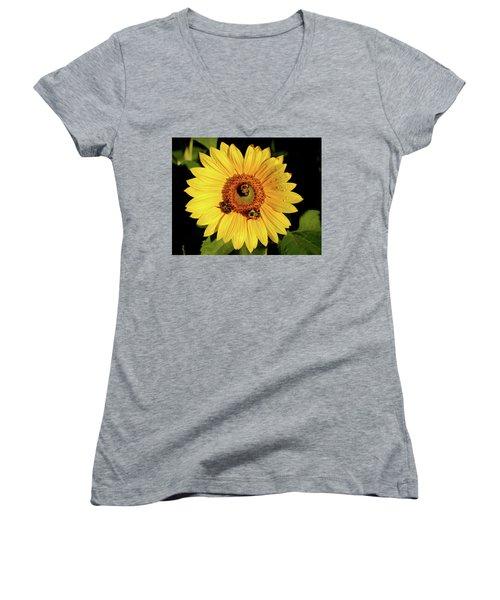 Sunflower And Bees Women's V-Neck T-Shirt (Junior Cut) by Nancy Landry