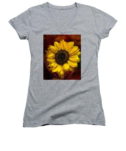 Sun In The Flower Women's V-Neck T-Shirt (Junior Cut) by Arlene Carmel