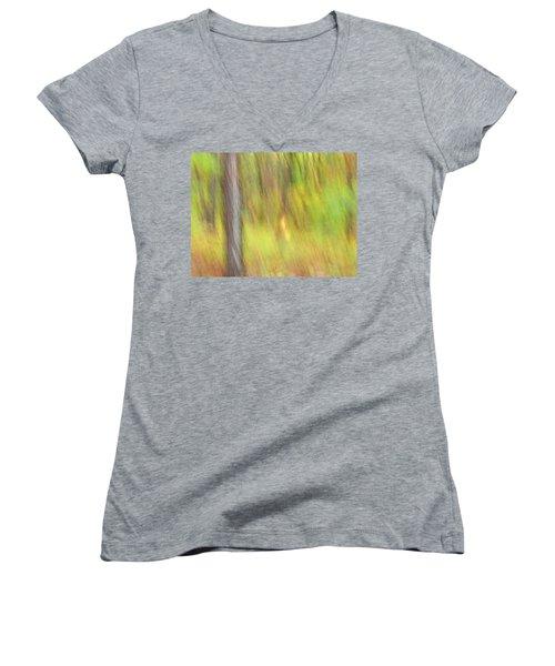 Sun Kissed Tree Women's V-Neck T-Shirt (Junior Cut) by Bernhart Hochleitner