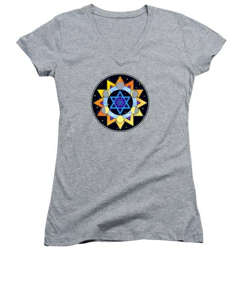 Sun, Moon, Stars Women's V-Neck T-Shirt