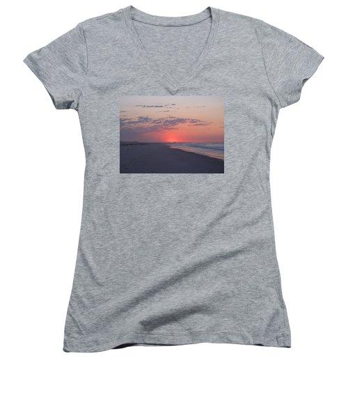 Women's V-Neck T-Shirt (Junior Cut) featuring the photograph Sun Pop by  Newwwman