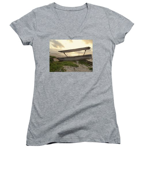 Sun Rays And Wooden Dhows Women's V-Neck