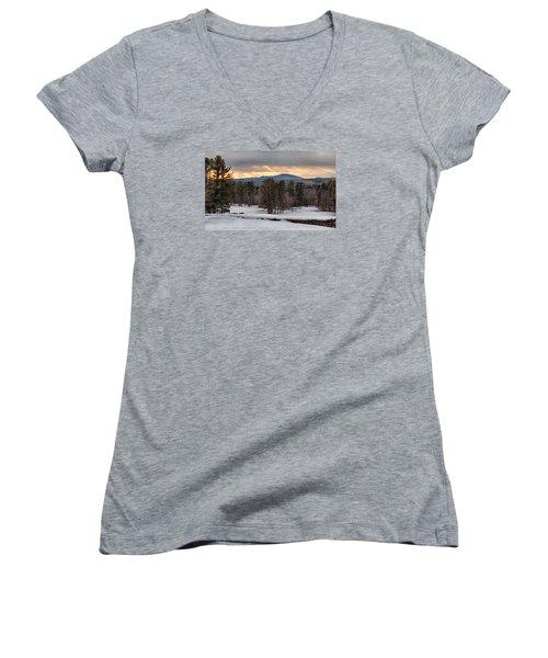 Sun Rays Women's V-Neck T-Shirt (Junior Cut) by Betty Pauwels
