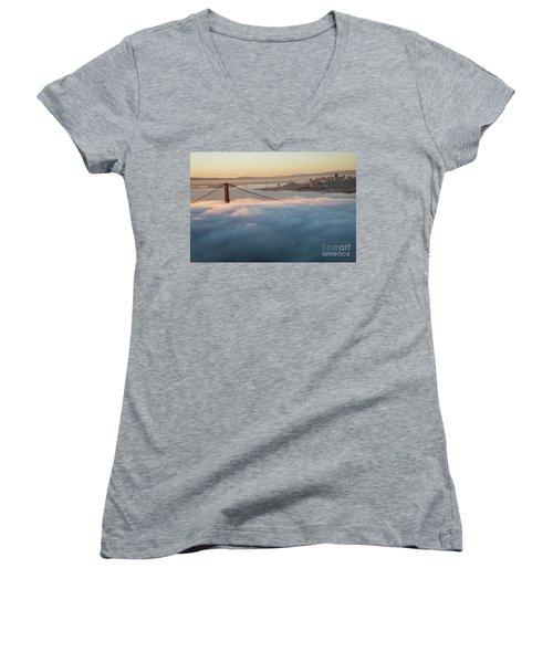 Women's V-Neck T-Shirt (Junior Cut) featuring the photograph Sun Rise At Golden Gate Bridge by David Bearden