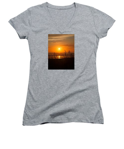 Sun Setting 2 Women's V-Neck T-Shirt (Junior Cut) by Adria Trail
