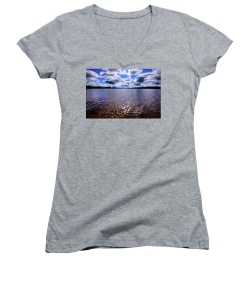 Women's V-Neck T-Shirt featuring the photograph Sun Shining Over Palmer Point by David Patterson