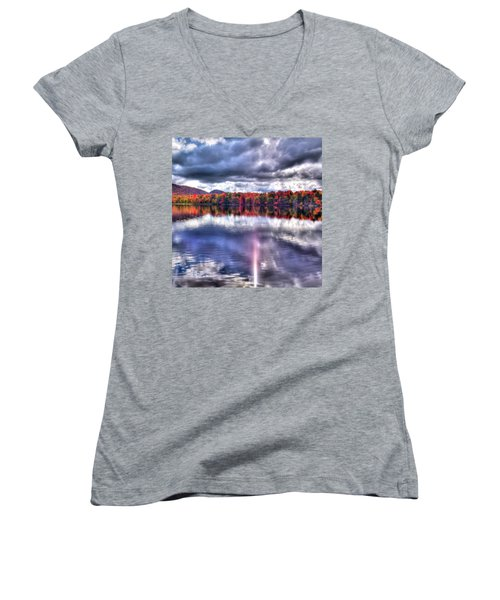 Women's V-Neck T-Shirt (Junior Cut) featuring the photograph Sun Streaks On West Lake by David Patterson