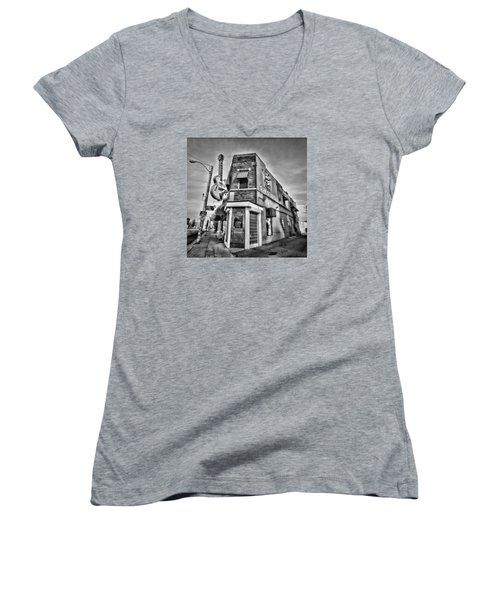 Sun Studio - Memphis #2 Women's V-Neck T-Shirt (Junior Cut) by Stephen Stookey