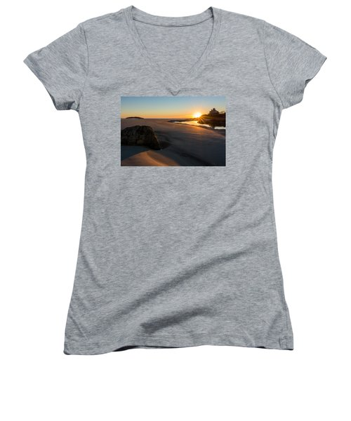 Women's V-Neck featuring the photograph Sun Up Good Harbor by Michael Hubley