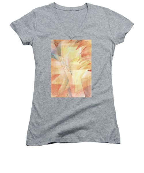 Women's V-Neck featuring the painting Sunbeams And Crystals by Carolyn Utigard Thomas