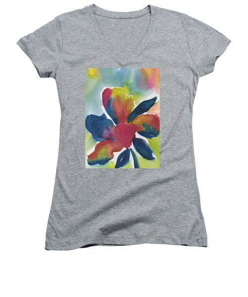 Women's V-Neck T-Shirt (Junior Cut) featuring the painting Sunburst by Frank Bright