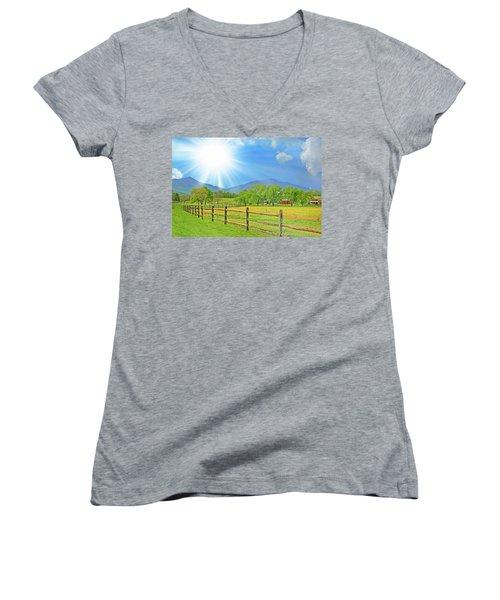 Sunburst Over Peaks Of Otter, Virginia Women's V-Neck T-Shirt (Junior Cut) by The American Shutterbug Society