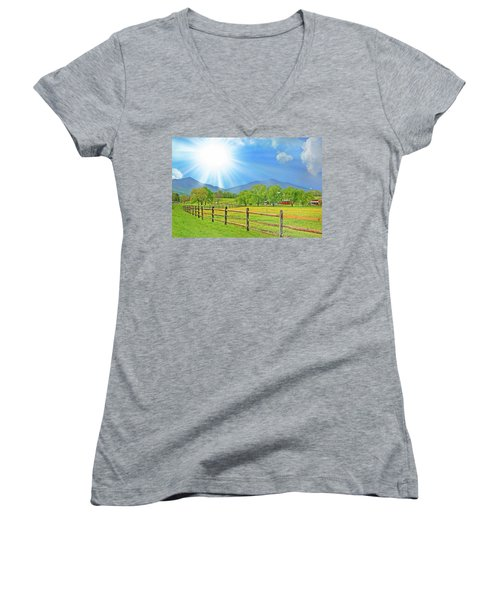 Sunburst Over Peaks Of Otter, Virginia Women's V-Neck
