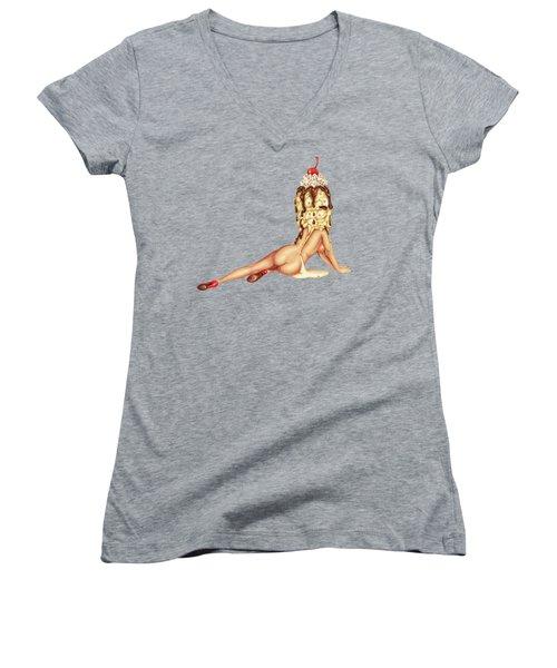 Sundae Best Women's V-Neck T-Shirt (Junior Cut) by Kelly Gilleran