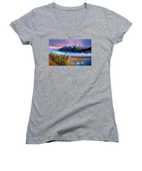 Women's V-Neck T-Shirt (Junior Cut) featuring the photograph Sundance by John Poon