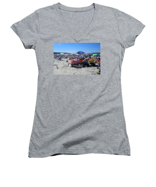 Sunday At The Beach Women's V-Neck T-Shirt (Junior Cut) by Paul Meinerth