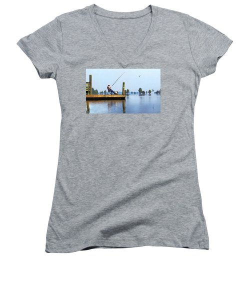 Sunday Fisherman Women's V-Neck T-Shirt (Junior Cut) by Deborah Smith