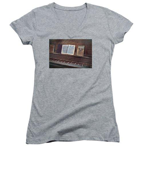 Sunday Hymns Women's V-Neck T-Shirt (Junior Cut) by Marion Johnson