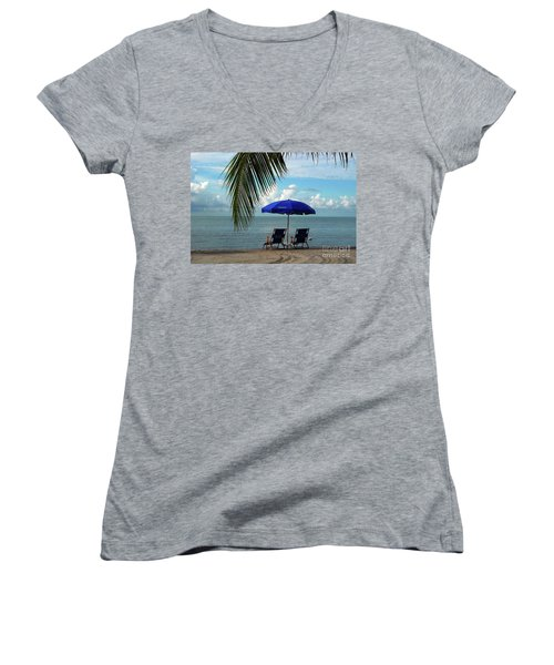Sunday Morning At The Beach In Key West Women's V-Neck