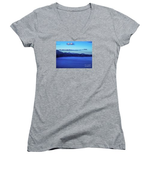 Sundown At Crater Lake Women's V-Neck T-Shirt (Junior Cut) by Nancy Marie Ricketts