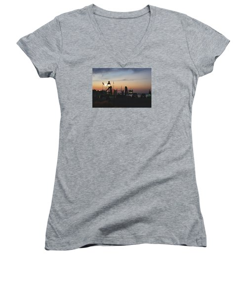 Women's V-Neck T-Shirt (Junior Cut) featuring the photograph Sundown At The Harbor by Margie Avellino