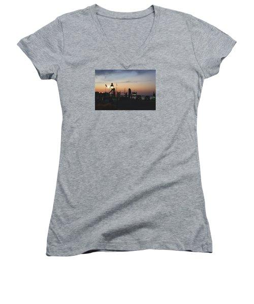 Sundown At The Harbor Women's V-Neck T-Shirt (Junior Cut)