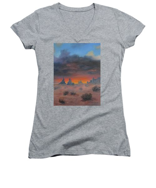 Sundown On The Desert Women's V-Neck