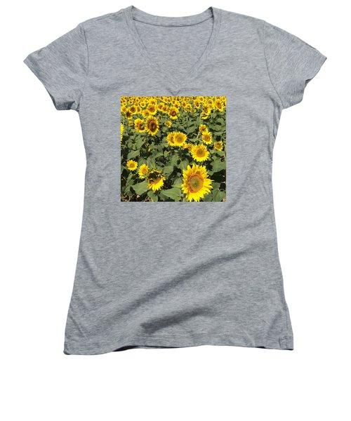 Sunflower 2016 Women's V-Neck T-Shirt (Junior Cut) by Caroline Stella