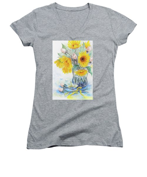 Sunflower-4 Women's V-Neck (Athletic Fit)