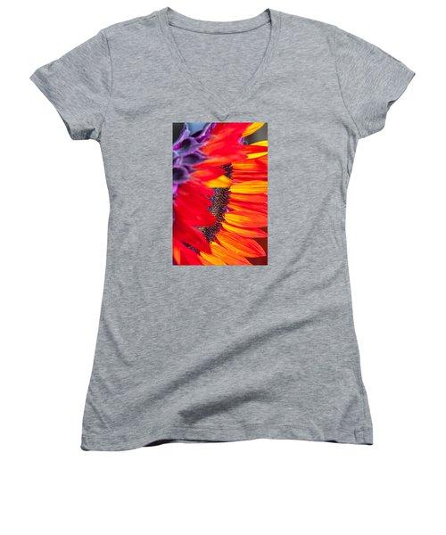 Sunflower #7 Women's V-Neck T-Shirt (Junior Cut) by Mark Alder