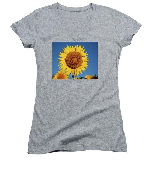 Sunflower And Blue Sky Women's V-Neck T-Shirt (Junior Cut) by Nancy Landry