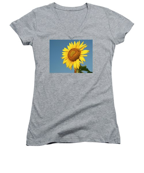 Sunflower And Blue Sky Women's V-Neck T-Shirt (Junior Cut) by Phyllis Peterson