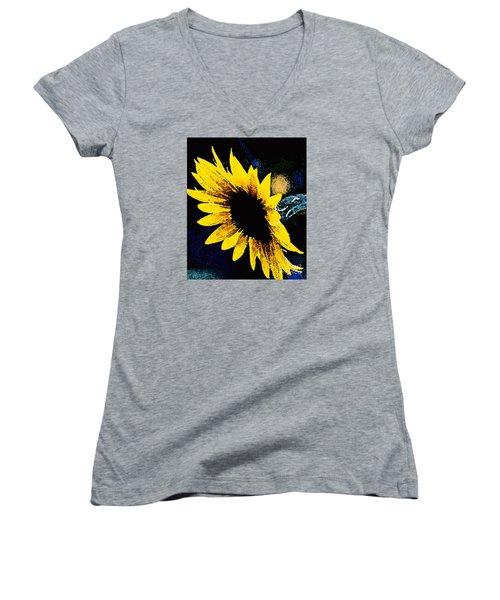 Women's V-Neck T-Shirt (Junior Cut) featuring the photograph Sunflower Art  by Juls Adams