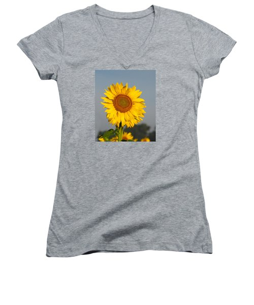 Sunflower At Attention Women's V-Neck (Athletic Fit)