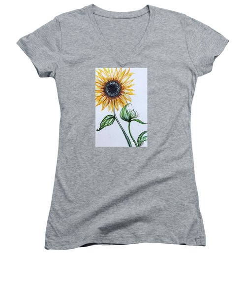 Sunflower Botanical Women's V-Neck T-Shirt (Junior Cut) by Elizabeth Robinette Tyndall