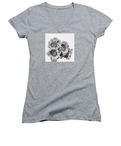 Women's V-Neck T-Shirt (Junior Cut) featuring the photograph Sunflower Bouquet Bw by Shirley Mangini