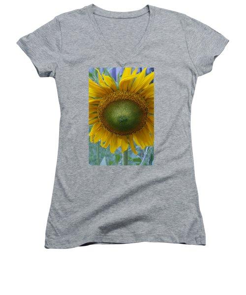 Sunflower Women's V-Neck T-Shirt (Junior Cut) by Catherine Alfidi