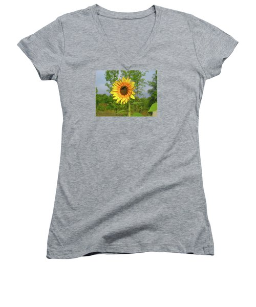 Ah, Sunflower Women's V-Neck T-Shirt (Junior Cut) by Deborah Dendler