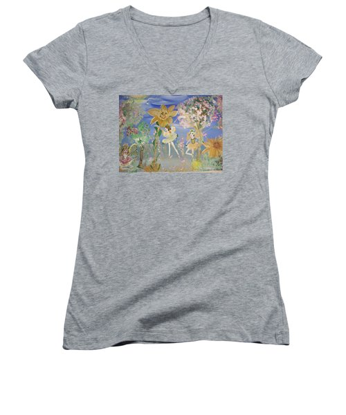 Sunflower Fairies Women's V-Neck T-Shirt (Junior Cut) by Judith Desrosiers