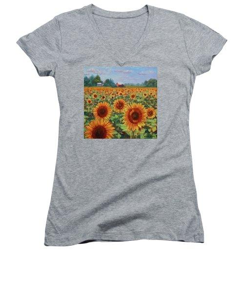Sunflower Farm Women's V-Neck (Athletic Fit)