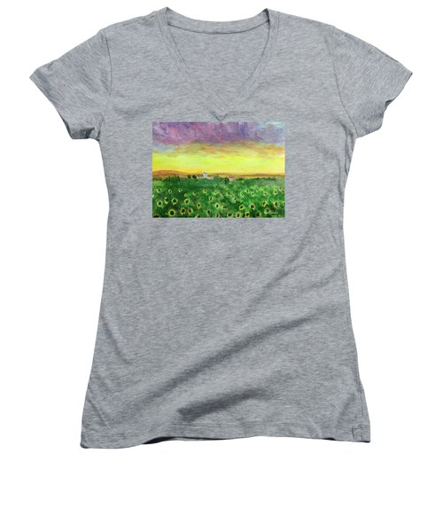 Sunflower Field Women's V-Neck
