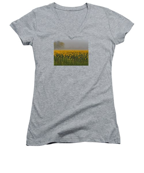 Sunflower Field On A Foggy Morn Women's V-Neck (Athletic Fit)